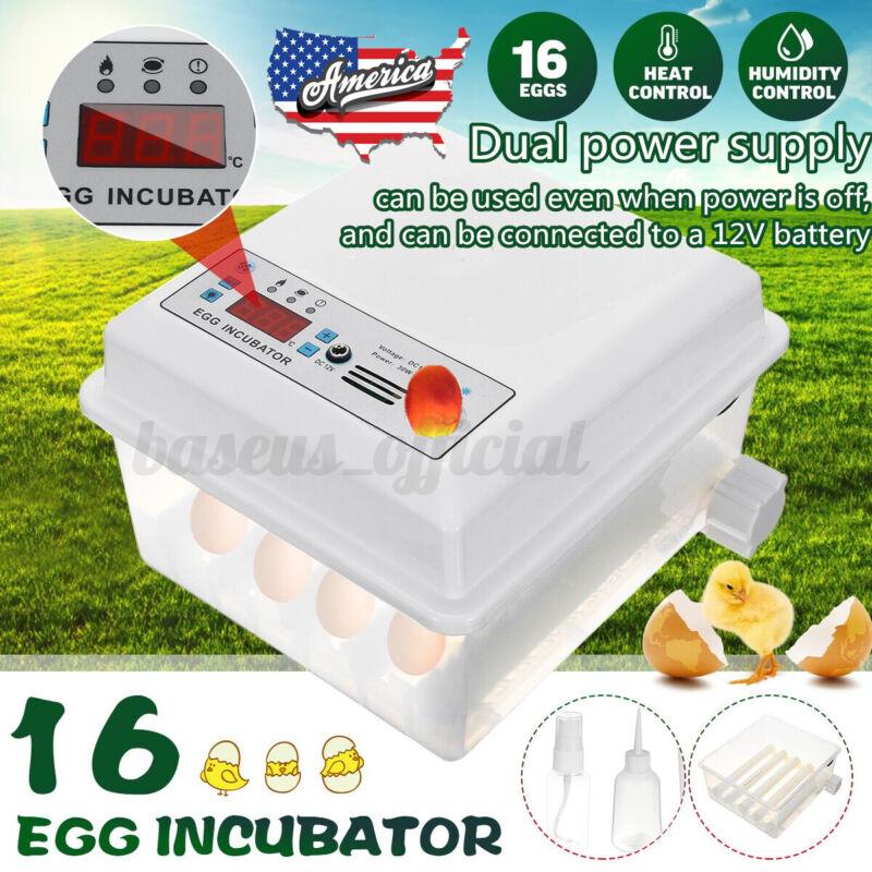 US Egg Hatcher Machine 16 Eggs Digital Mini Automatic Incubators 110-220V+12V