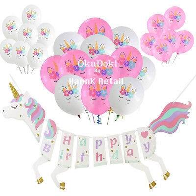 Unicorn Happy Birthday Banner and Balloon Theme Supplies Set USA SELLER SHIPFAST - Birthday Theme Supplies