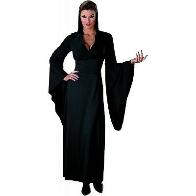 Hooded Robe Black Vampire Sorceress Witch Costume Adult Halloween Fancy Dress