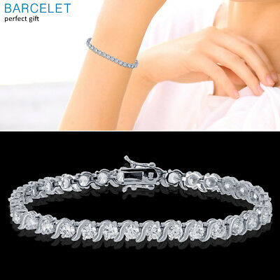 Mens Womens 14K White Gold Finish Diamond 1.00 CTW S-Link Tennis Bracelet 7 - 8 ()