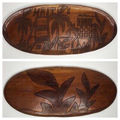 Large Hand Carved Haitian Wooden Tray Haiti Bohemian Folk Art Decor 20.5
