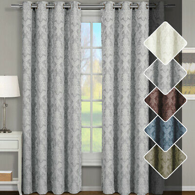 Grommet Top Panel - Set of Two Blair Jacquard Grommet-Top Window Curtains, 100% Pure Polyester Panel