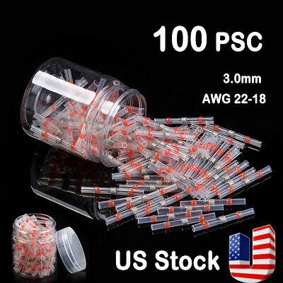 100pcs Waterproof Solder Seal Heat Shrink Sleeve Wire Red Connectors Terminals