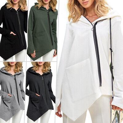 US Women Zip Up Hoodie Jacket Sweatshirt Hooded Pocket Coat