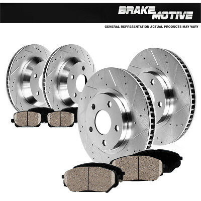 Front And Rear Brake Rotors + Ceramic Pads For Dodge Durango Jeep Grand Cherokee (Dodge Durango Rear Brake)