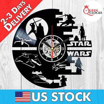 Star Wars Vinyl Clock Darth Vader Wall Art Best Yoda Gift Record Decor Death R2 Star Wars Wall Clock