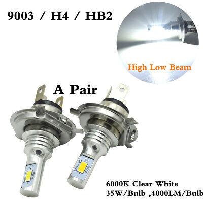 H4 HB2 9003 Headlight 2Pcs/Set 80W High & Low Beam 6000K Clear White LED Bulbs
