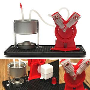 V-type Mini Twin Live Steam Engine Model Kit + Led Generator Learning Equipment