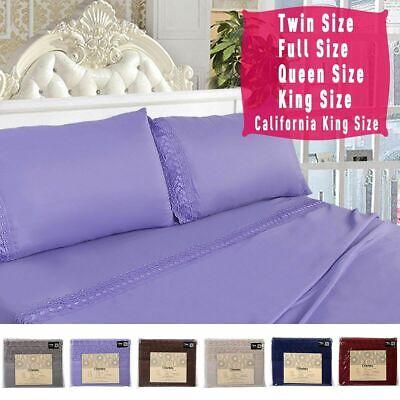 1600 Count 4 Piece Bed Sheet Set Deep Pocket 6 Color 5 Size Chemical Lace New - Color Sheets