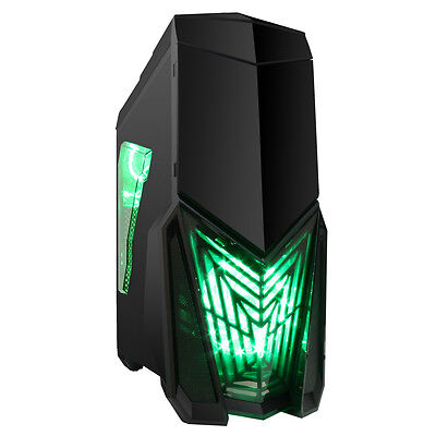 Game Max Destroyer Mid Tower PC Gaming Case With Window 4 Fans USB3 Green LED