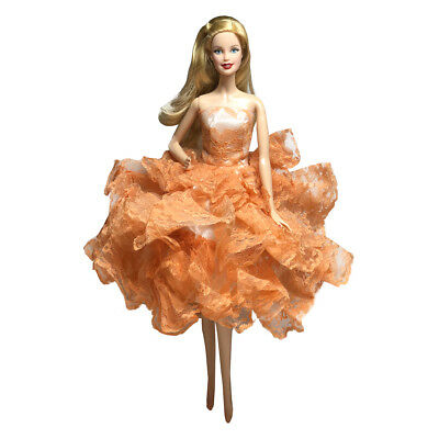 Barbie Strapless Gown - Barbie Ball Gown Strapless Layers of Organza Orange Dress