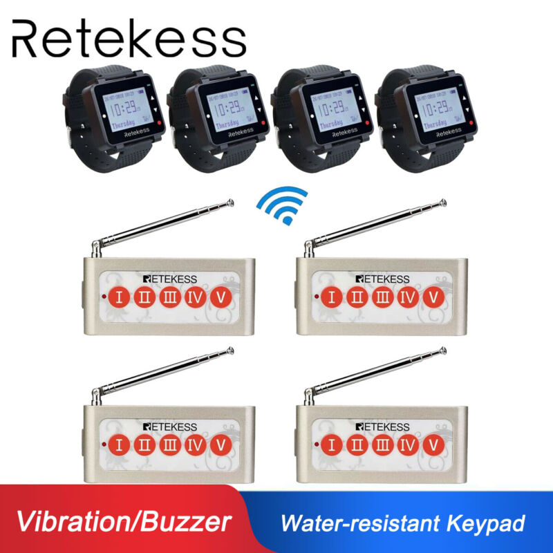 Retekess 999CH Restaurant Service Paging System 4*Keypad W/ 4*Watch Receivers US