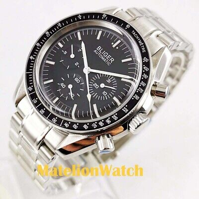 Bliger 40mm week date indicate Multifunction Automatic men's watch black dial