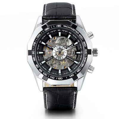 Men's Skeleton Dial Automatic Mechanical Black Leather Sport Analog Wrist Watch