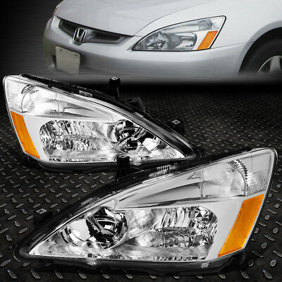 FOR 2003 2007 HONDA ACCORD PAIR CHROME HOUSING AMBER CORNER HEADLIGHTLAMP SET