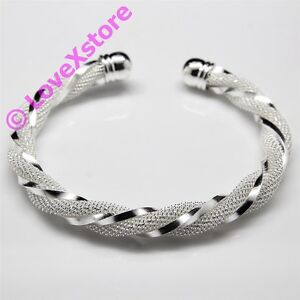 925 Sterling Silver Plated Twist Net Cuff Bangle Bracelet Fashion Bracelets
