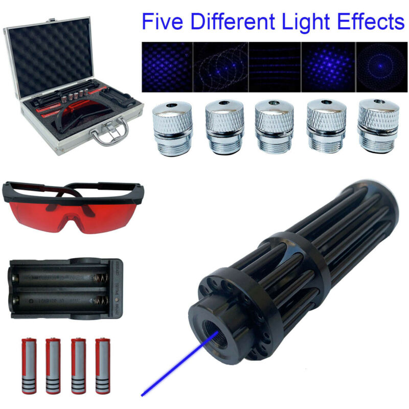 Blue Visible Beam Light Powerful Laser Pointer W/ 4×18650 Batteries+Box 450nm