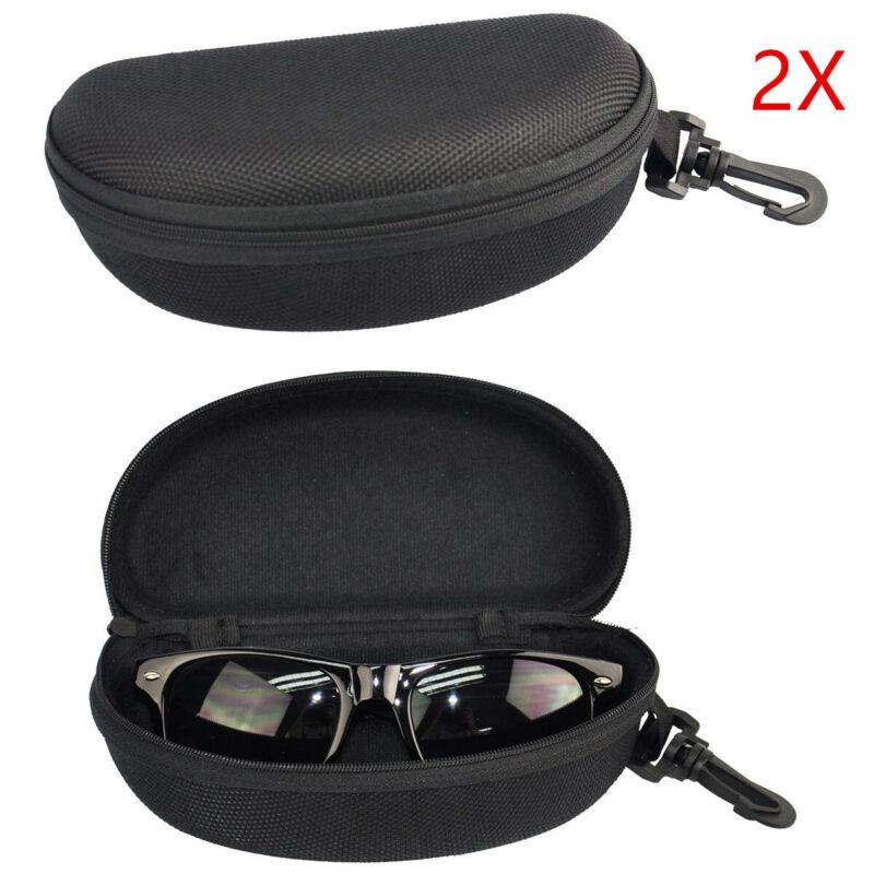 2PCS Portable Zipper Eye Glasses Sunglasses Clam Shell Hard Case Protector Boxf