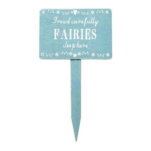 Wooden Garden Fairy Sign Tread Carefully Fairies Sleep Here Sass and Belle