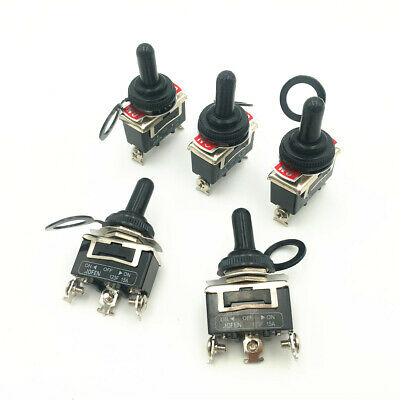 5sets Momentary Toggle Switch 123f 3pin 3 Position On-off-on Dpdt 15a 250vac Cap