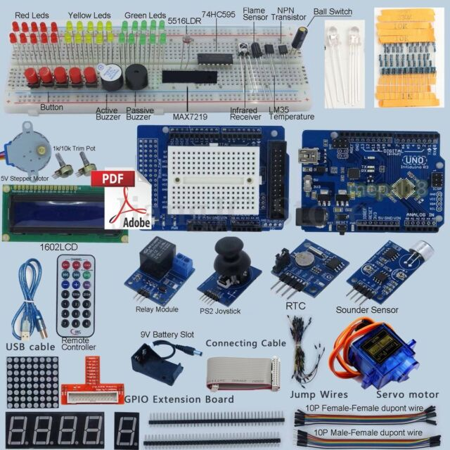 Pro Ultimate R3 Starter Kit For UNO Arduino 1602 LCD Servo Motor Relay RTC LED