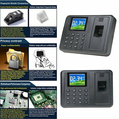 2.8 Fingerprint Time Clock Employee Payroll Recorder Attendance Machine Eu Plug