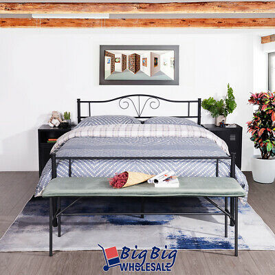 queen size steel foundation retro bed frame