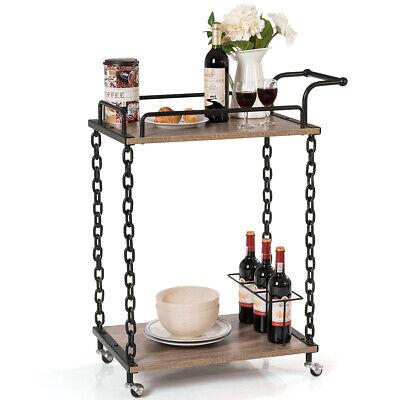 2-Tier Rolling Kitchen Bar Serving Cart Wine Trolley Chain Style Kitchen Island Aluminum Serving Cart