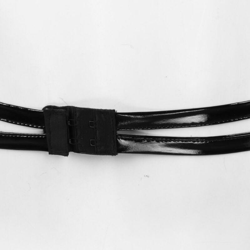 Womens Wetlook Leather Rivets Bra Top Zippered Crop Top Cutout Front Bralette