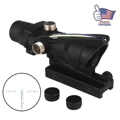 US Hunt Rifle Scope ACOG 4X32 Optics Sight Tactical Reticle Real Red Green Fiber