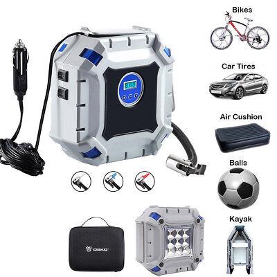 Portable 12V Car Air Compressor Blowers Pump Digital Tire Inflator LED Light