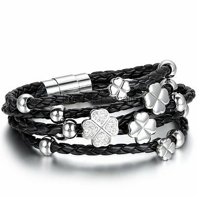Stainless Steel Lucky Charm - Braided Stainless Steel Layer Lucky Clover Charm Women's Leather Bangle Bracelet