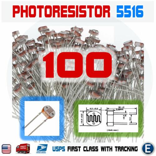 100PCS 5516 5MM 5K-10K Photoresistor Light-Dependent Resistor Sensor GL5516 USA