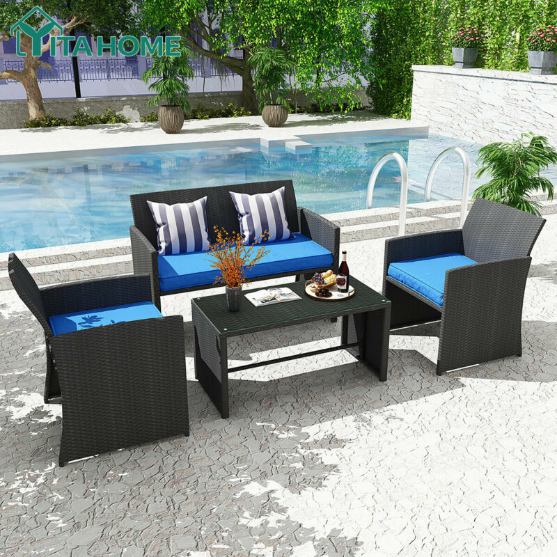 Garden Furniture - YITAHOME Patio Wicker Furniture Outdoor 4Pcs Rattan Sofa Garden Conversation Set
