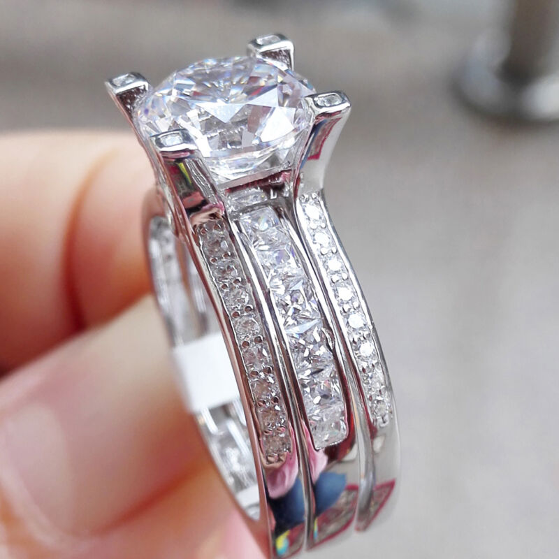 Newshe Wedding Band Engagement Ring Set For Women 925 Sterling Silver Round Cz