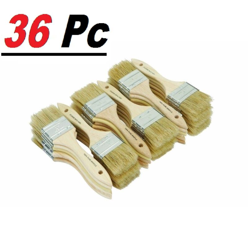 """36 Chip Brush Brushes Perfect Adhesives Paint Touchups Sizes 0.5"""" 1"""" 1.5"""" 2"""" 3"""""""