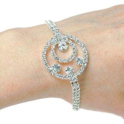 Wedding Bridal Bracelet Silver Circular Design In Swarovski Rhinestone Elements
