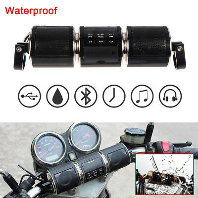 Black Radio System Stereo Handlebar Speaker Waterproof For Motorcycle