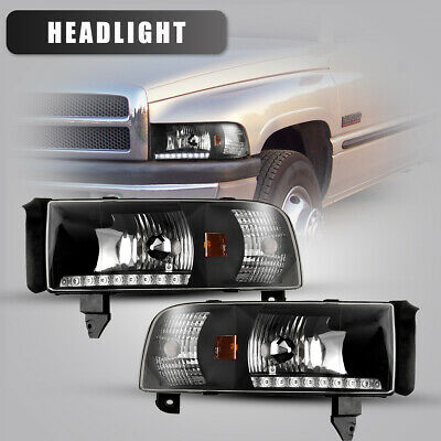 For 94-01 Dodge Ram 1500 2500 3500 Headlights Front LED DRL Lamp Black/Smoke