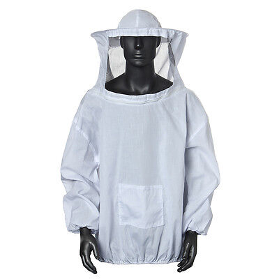 Beekeeping Protective Jacket Veil Dress Suit With Pull Hat Smock Equipment White