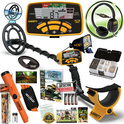 Garrett ACE 300 Metal Detector, Headphones & Propointer AT, Waterproof Coil, ++ New Metal Detector