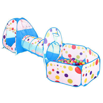 Portable Kids Indoor Outdoor Play Tent Crawl Tunnel Set 3 in 1 Ball Pit Tent US (Children Tents)