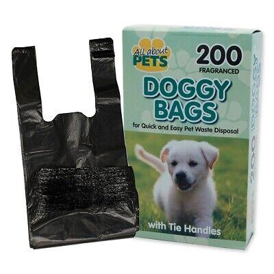 200x DOG WASTE DISPOSAL BAGS Black Clean Scented Carry Tie Handles Poo Poop Pooh