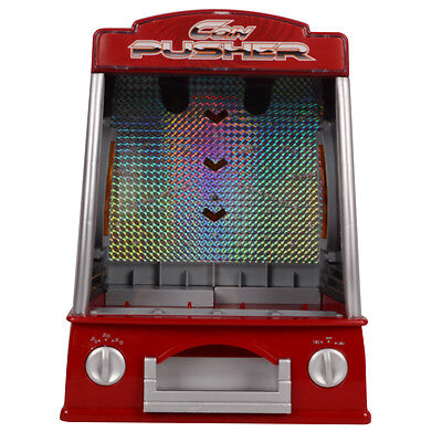 Coin Pusher Machine Battery Operated Arcade Game Music Flashlight Voice New