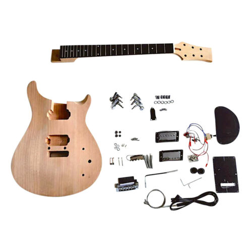 Coban Guitars DIY Guitar kit PR8M Plain Mahogany with Chrome Hardware Set Neck