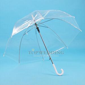 Clear Transparent Rain Umbrella Parasol PVC Dome Wedding Party Favor Waterproof