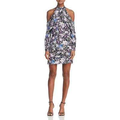 Parker Thatch Noemi Women's Silk Floral Print Cold Shoulder Halter Mini Dress