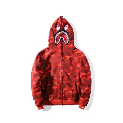Popular A Bathing Ape BAPE Shark Head Coat Full Zipper Camouflage Jacket Hoodie