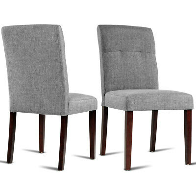 (Set of 2 Dining Chair Parson Linen Fabric Upholstered with Solid Wood Legs Gray)
