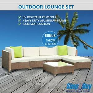 Free Delivery: Outdoor Lounge 5 Seater Garden Furniture Wicker Melbourne CBD Melbourne City Preview